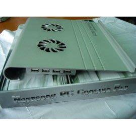 (A05) USB厚鋁合金筆記本電腦散熱墊+2.0 4埠HUB(含開關)可調風速