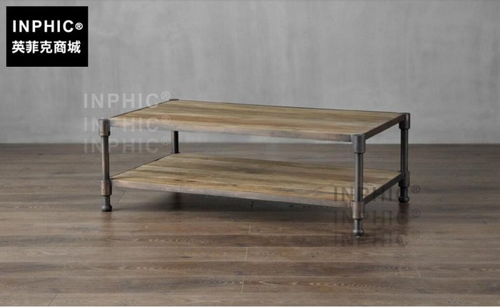 INPHIC-歐美式鄉村風復古工業風 回收鐵木結合小咖啡桌茶几_S1910C