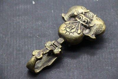 *拾参閣* 皮帶扣還 鑰匙圈 魚 招財 銅製 A4106089