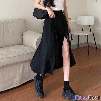 及膝裙 2020新款設計感黑色中長款裙子女夏季高腰長裙不規則開叉半身裙