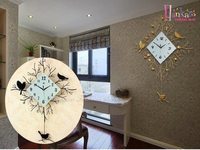 ☆[Hankaro]☆ 歐美流行創意鐵藝小鳥造型鐘擺時鐘