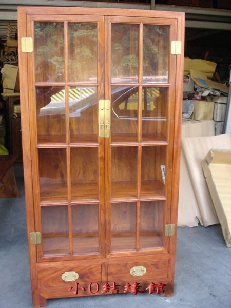 小o結緣館仿古傢俱.......雙抽雙門玻璃書櫃.展示櫃.藝品櫃(大陸香樟)90x40x175