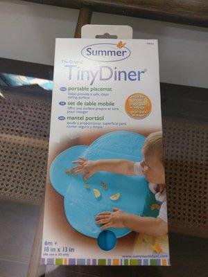 [全新] 美國 Summer Infant 可攜式防水學習餐墊 Tiny Diner 兒童用餐墊 FDA合格 (藍色)