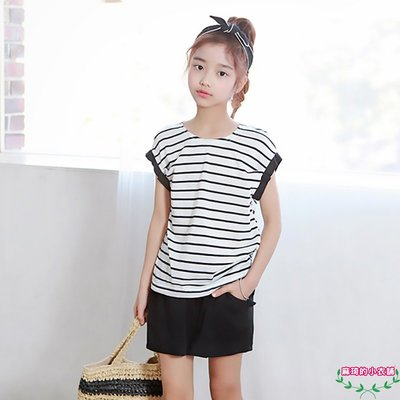 [memene] 日韓女童 棉質時尚橫條紋短袖短褲套裝