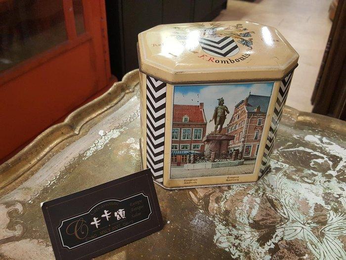 【卡卡頌 歐洲跳蚤市場/歐洲古董】歐洲老件_ 八角形 歐洲風景 老鐵盒 咖啡罐 餅乾盒 小物收納盒 m0499提供租借✬