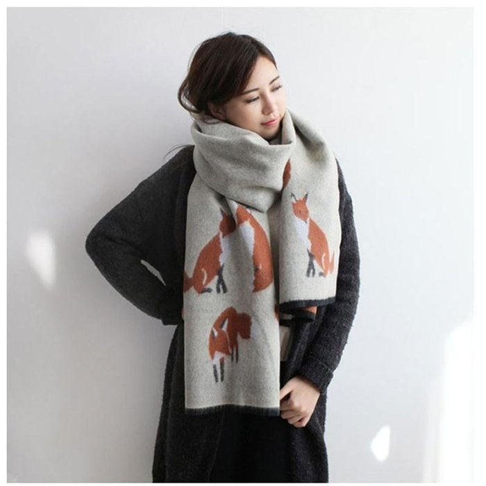 【Miioi麋貳屋】韓外貿原單小狐狸仿羊絨圍巾女冬季披肩保暖女圍巾
