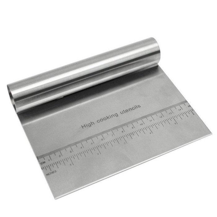 不銹鋼削麵刀麵團切面刀腸粉刀粉刮切麵粉刮板烘焙工具烘焙工具  按板刀切面刀 (帶量度)帶尺刮刀