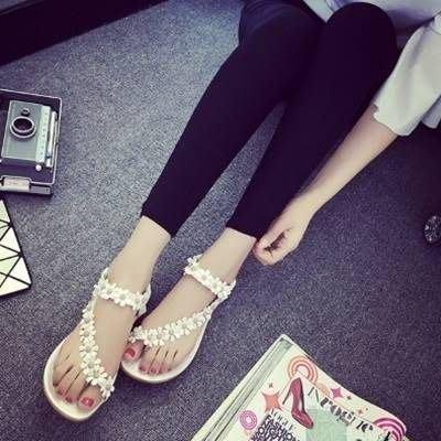 羅馬涼鞋 平底鞋(零碼賠售出清、恕不退換)-小花優雅氣質甜美女鞋子2色73ey12[獨家進口][米蘭精品]