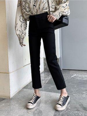 西西小可春夏裝2019新款韓版職業黑色直筒高腰修身顯瘦休閑西褲女
