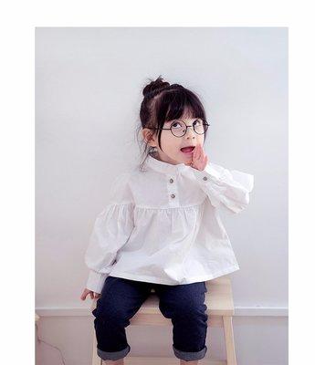 【Mr. Soar】  **清倉** E329 春季新款 歐美style童裝女童立體剪裁白色長袖襯衫 現貨