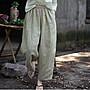 【子芸芳】設計師原著夏款漢亞麻交織青麥色鬆緊腰抽繩寬鬆九分休閒麻褲
