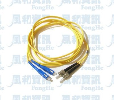ST/PC-DLC/PC 單膜雙芯光纖短線-3米【風和網通】