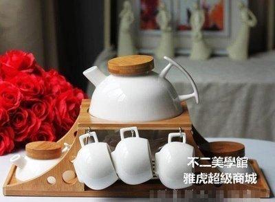 【格倫雅】茶友居 站 玉冰花瓷 提梁壺茶具7件套 居家廚衛 結婚禮品物 迎43636[