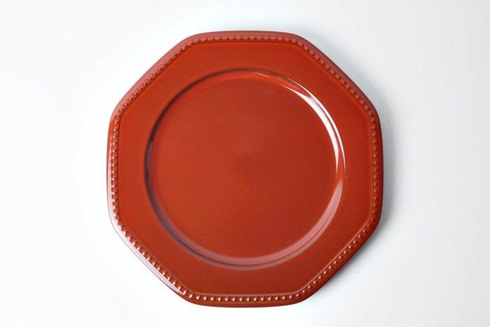 [偶拾小巷] 日本製 美濃燒 ROOTS Coline 歐式八角型餐盤28cm - 紅色