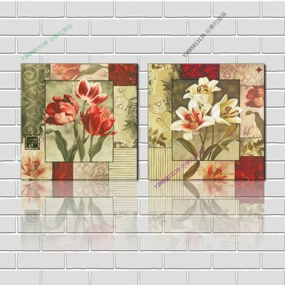 【60*60cm】【厚0.9cm】經典花卉-無框畫裝飾畫版畫客廳簡約家居餐廳臥室牆壁【280101_215】(1套價格)