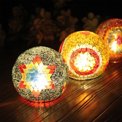熱銷#歐式彩色魔法馬賽克電子蠟一體玻璃燭臺浪漫家居酒吧會所裝飾擺件#燭臺#裝飾