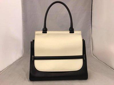 【RECOVER 名品二手】THE ROW黑皮革白翻蓋手提包 TOP Handbags . 100% 真品 .