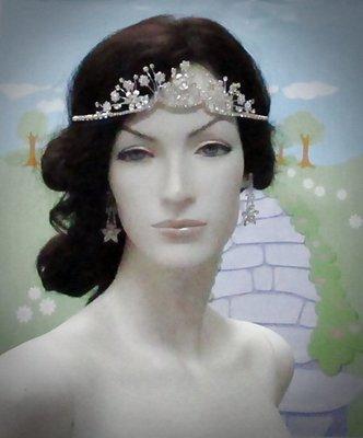 結婚飾物;結婚頭飾;新娘婚禮頭飾;新娘頭飾;婚禮皇冠; BRIDE BAND;BRIDAL HEADPIECE;WEDDING TIARA COMB #4867