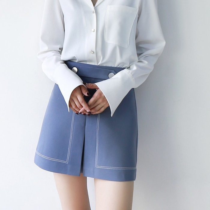~Linda~2018春夏新款韓版撞色線高腰半身裙A字裙藍色短裙百搭顯瘦開叉裙