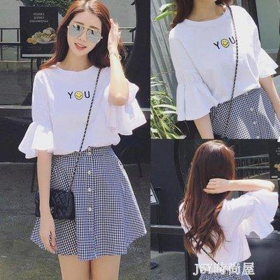 哆啦本鋪 短袖T恤2019新款女裝喇叭半袖韓版寬鬆學生百搭夏天小清新上衣服 D655