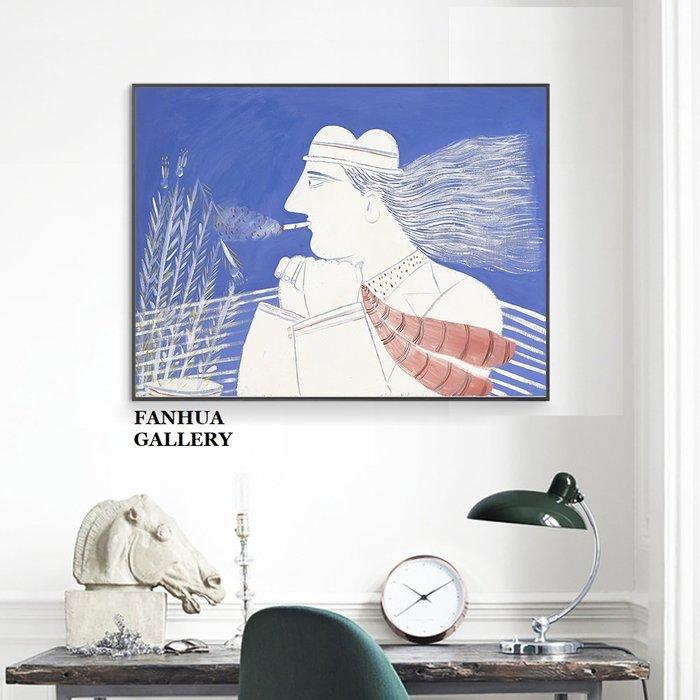 C - R - A - Z - Y - T - O - W - N 麥田裡的思考者法式人物抽象藝術掛畫簡約設計藍色裝飾畫