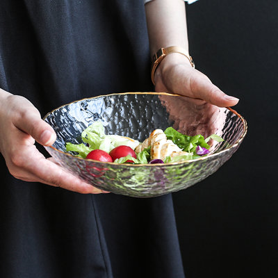 娜個小屋-透明金邊玻璃水果沙拉碗盤家用大號可愛日式北歐燕窩甜品碗(規格不同 價格不同)