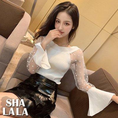 SHA LA LA 莎菈菈 韓版性感透膚網紗拼接針織喇叭長袖上衣性2色2019031419預購款