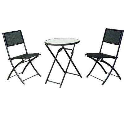 【紅豆戶外休閒傢俱】鐵製折合玻璃紗網桌椅組 一桌二椅 庭園桌椅 咖啡廳桌椅 餐廳桌椅 中庭桌椅 民宿桌椅 農場桌椅