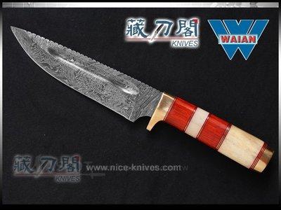 《藏刀閣》WAIAN-挫圖骨霜木柄銅環直刀