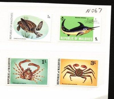 O(∩_∩)O~馬爾地夫新票-----大海龜,螃蟹等海生物---4 枚---外票N067