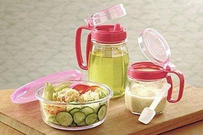 廚房三件組~玻璃油壺+調味罐+保鮮碗