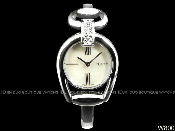 金鐸精品~W800 GUCCI 古馳 Horsebit系列 馬銜鍊手鐲款珍珠母貝面 石英女用鑽錶 近全新品