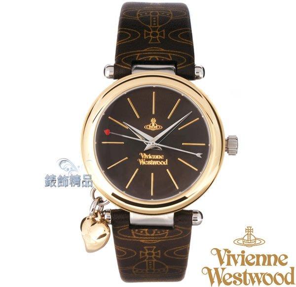 【錶飾精品】Vivienne Westwood 英倫時尚腕錶 心型墜飾 金框 LOGO咖啡皮帶VV006BRBR正品