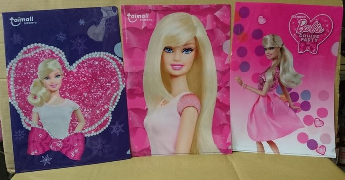 芭比 Barbie 文件夾,資料夾,檔案夾, L型夾(1組3款,不單賣)
