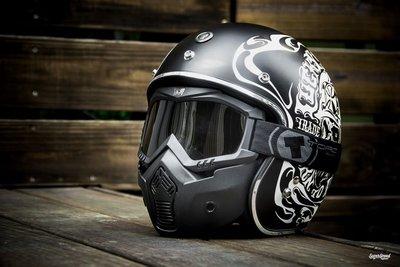 [安信騎士]  TORC T50 Mask 鬼面罩 可拆式 越野 風鏡 抗UV  淺黑 鏡片 半罩安全帽 通用型