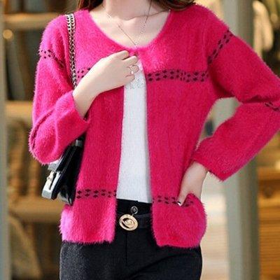 韓版毛海毛衣針織外套罩衫中短版 氣質針織修身外套(玫紅色)-艾發現