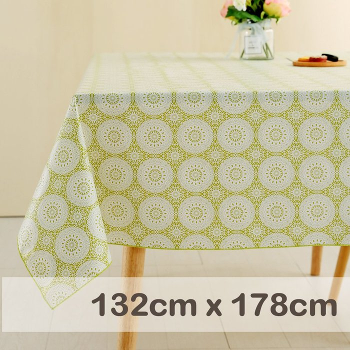 CasaBella美麗家居 | 防水 桌巾 淺綠克蘿榭 132x178cm | 桌布 野餐 餐墊 露營