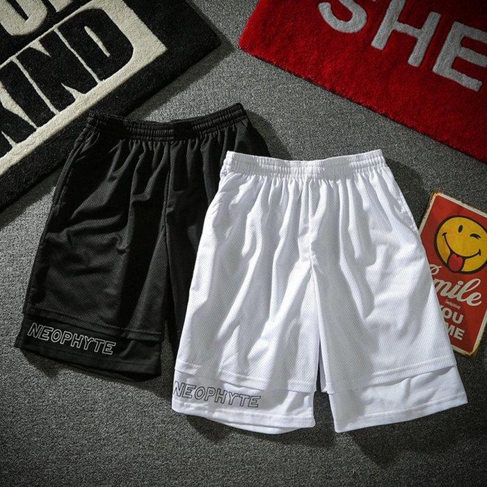 TST- 黑白 素面 LOGO 運動褲 球褲 飛鼠褲 膝上褲 短褲 男女款 情侶款 賈斯汀同款