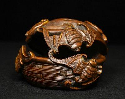 ㊣姥姥的寶藏㊣回流舊藏 舊藏 黃楊木精雕福在眼前首飾盒 (非樟木充當)