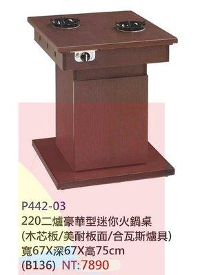【進日興家具】P442-03 兩爐豪華型迷你胡桃火鍋桌(木芯板/美耐板面/含瓦斯爐具) 台南。高雄。屏東 傢俱宅配