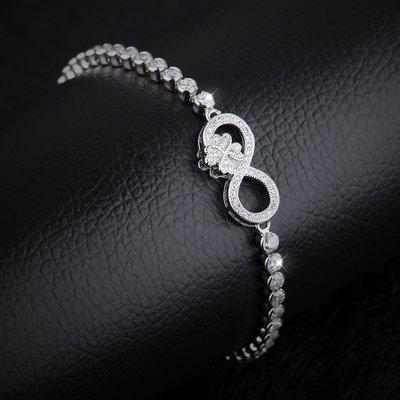 新款首飾直銷韓版時尚百搭飾品鍍白金8字形個性手鍊N963