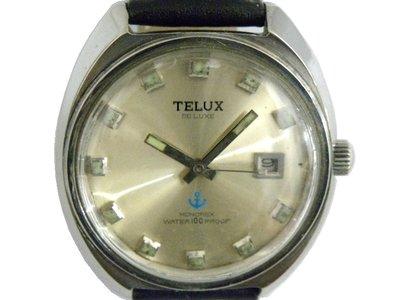 [專業模型] 機械錶 [TELUX 7072] 鐵力士 圓型手上鍊錶[銀色面+日期][17石]中性錶/軍錶