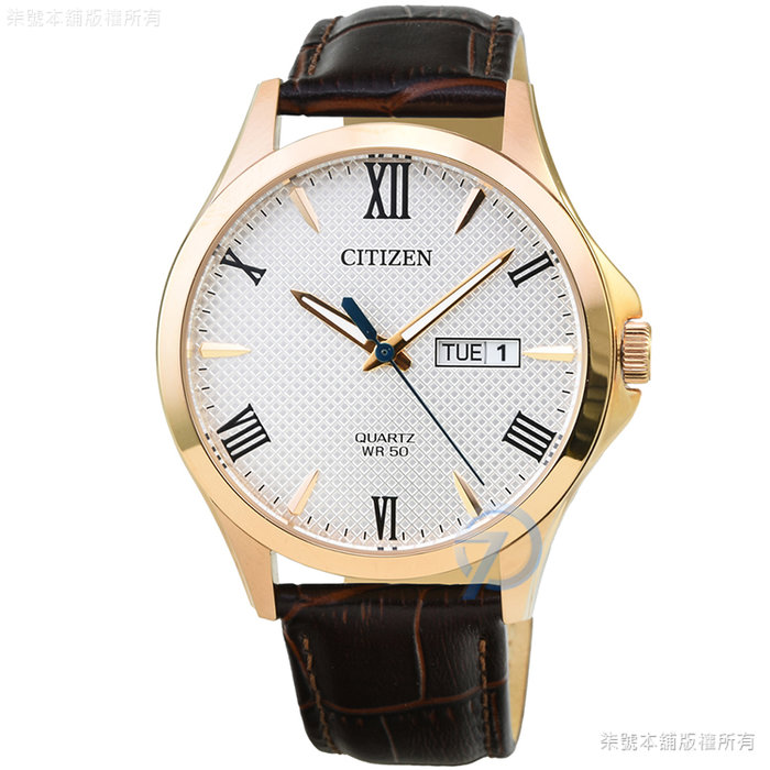 【柒號本舖】 CITIZEN星辰簡約風格石英皮帶錶-白面金框 / BF2023-01A