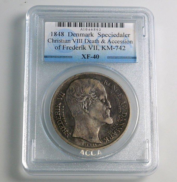 評級幣 丹麥 1848年 克里斯蒂安八世及腓特烈七世 紀念幣 銀幣 鑑定幣 ACCA XF-40
