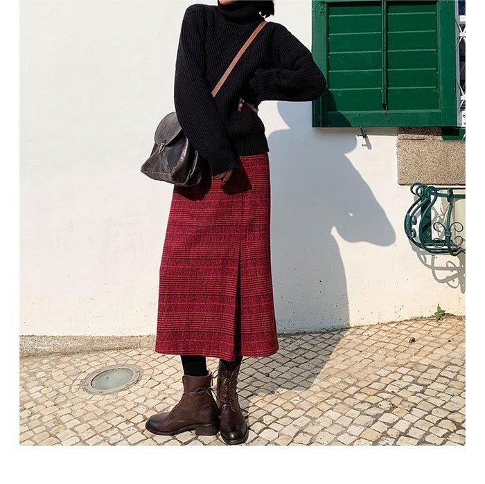 RVP|英倫風|格子毛呢高腰復古直筒顯瘦A字裙-12242