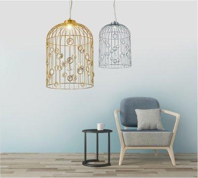 Rural 小號 美式 鄉村 田園 鐵藝 鳥籠 水晶 餐廳 吊燈 後現代 創意 個性 吊燈 E14 110V~220V