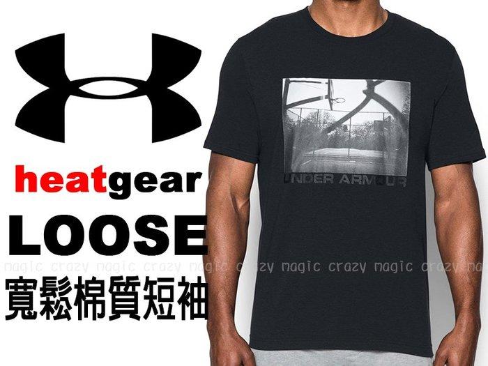 7折 UNDER ARMOUR UA 棉質 能量棉 寬鬆版 短袖T恤 球場照片 黑色 # 1290585-001