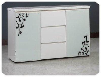 北歐簡約摩登鋼琴烤漆4尺白色收納碗盤櫃/餐櫃/收納櫃