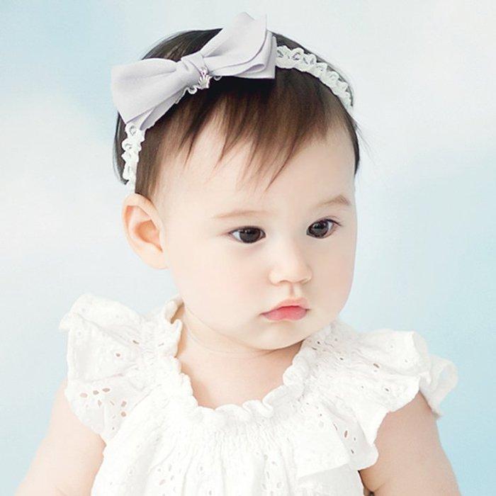 ☆草莓花園☆B36綢緞蝴蝶結蕾絲髮帶 百天照頭飾 嬰兒髮帶 髮冠 皇冠 造型周歲照 藝術照