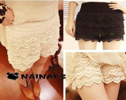 【NAINAIS】Style‧R 9921 韓版 vivi雜誌款款浪漫多層次蕾絲短褲  黑色現貨